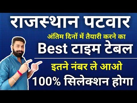 Rajasthan Patwari Exam Time Table, Safe Score, Preparation, Exam Date   राजस्थान पटवार  