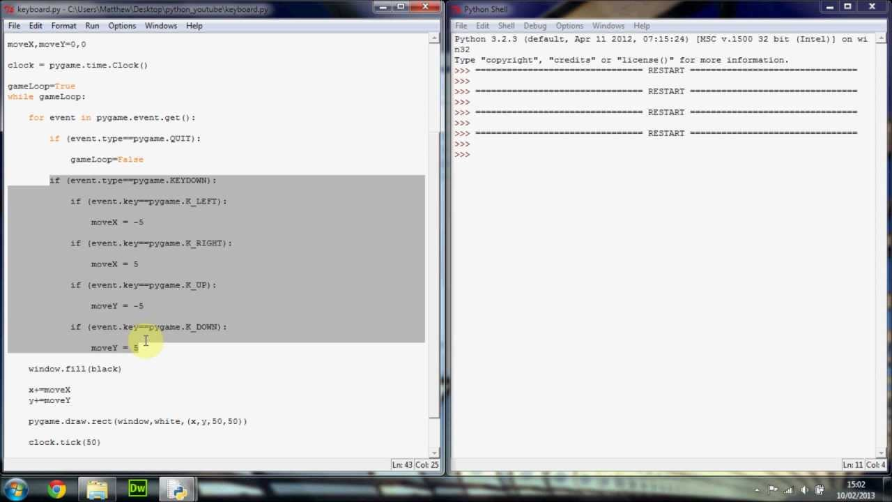 Python / Pygame Tutorial 6 - Keyboard Events