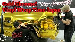 Time Lapse Vinyl Wrap Gold Chrome Chevy Truck Wrap With Printed Chrome! 8 Minute Full Vinyl Wrap