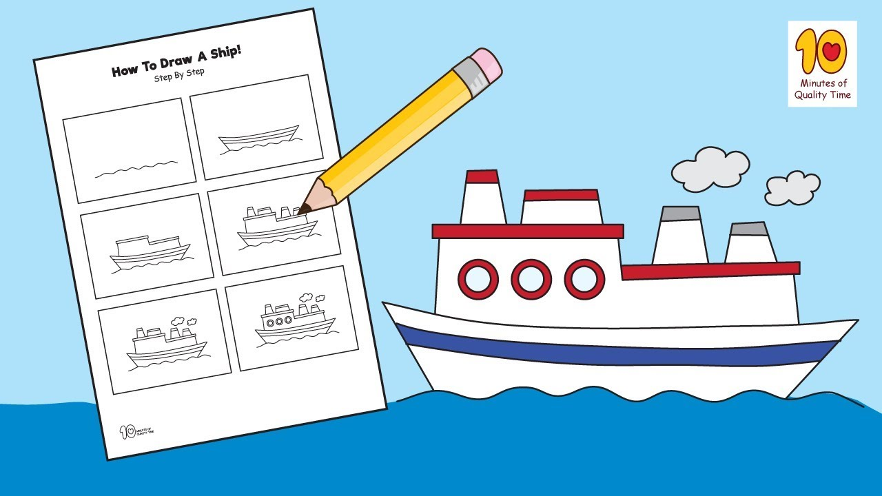 how to draw a ship step by step for kids