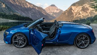 NEW! 2021 AUDI R8 V10 RẄD SPYDER - Droptop Rear Wheel Drive supercar in the Alps is pure magic!