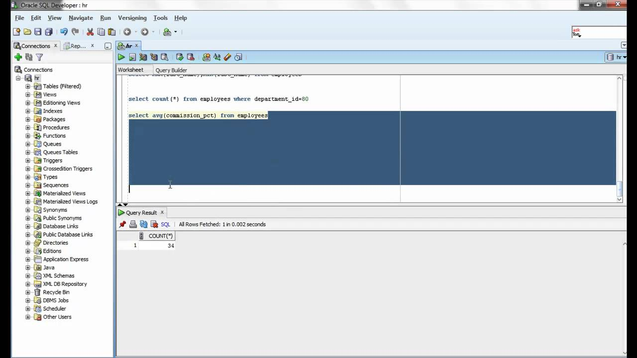 Oracle SQL Video Tutorial 29 - AVG function - YouTube