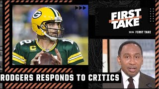 Stephen A. reacts to Aaron Rodgers' response to his critics | First Take