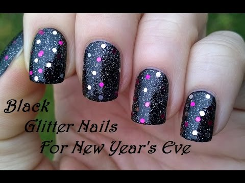 last minute party nails  black glitter new year's eve