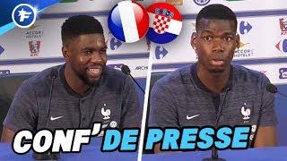 Samuel Umtiti et Paul Pogba avant la finale France-Croatie