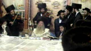 Rabbi Avraham Goldstein playing the violin at the Hoshanah Rabba tish