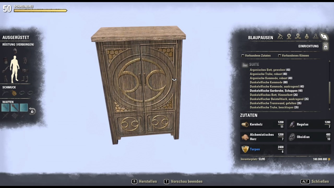 Möbelladen Online The Elder Scrolls Online Housing Homestead Schreiner Möbel Überblick Elderscrolls Gameplay