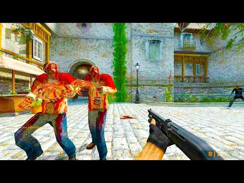 Counter Strike Source - Zombie Riot Mod Online Gameplay On De_leika Map