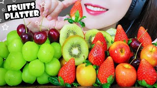 Download AMSR FRUITS PLATTER (MUSCAT GRAPES, STRAWBERRY ,MINI APPLES, KIWI , CHERRY)EATING SOUNDS | LINH-ASMR
