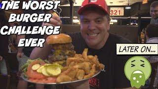 WORST BURGER CHALLENGE EVER W/ RANDY SANTEL!! RAW BEEF? GETTING SICK? Man Vs Food