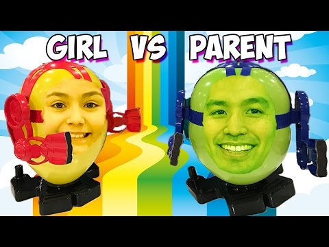 Parent vs Kid - Balloon Boxing CHALLENGE New York Toy Fair 2017