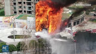 5G unmanned drone applied in firefighting drill in Chongqing, China