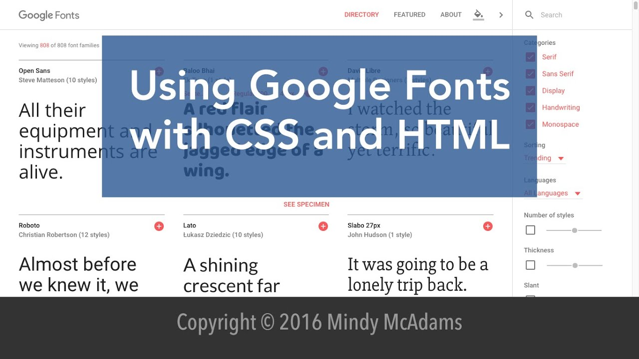 how to add google fonts to html