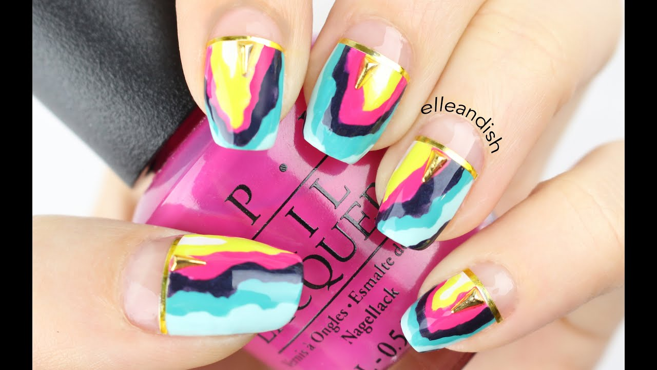 ❤ Colorful Geode / Agate Nails - Mani swap with Nina Nailed It ...