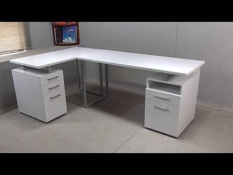 Угловой компьютерный стол белый глянец МДХ64 2 3 210