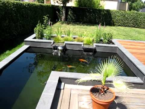 Modern koi pond youtube for Koi pool water gardens thornton