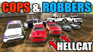 AMERICAN COPS & ROBBERS | NEW DODGE HELLCAT & TRANS AM RUNNING FROM POLICE | FARMING SIMULATOR 2017