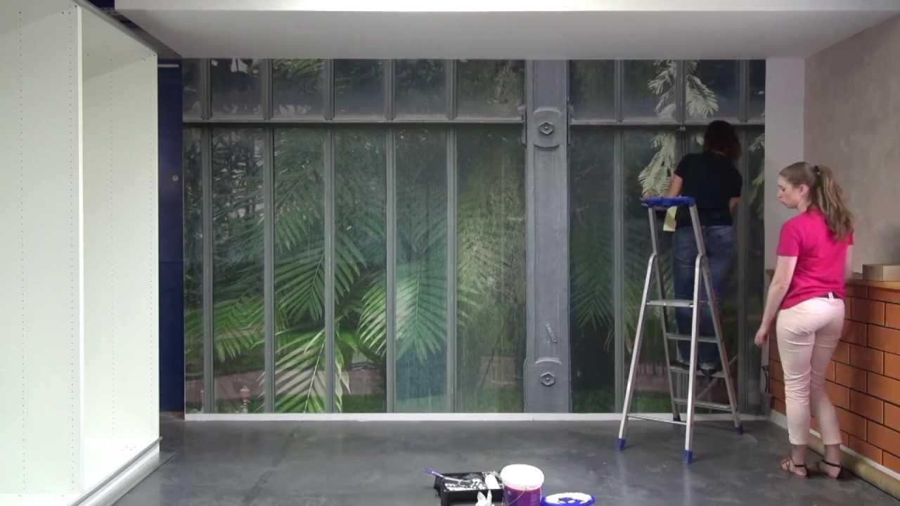 pose de la toile textile panoramique monobloc coller 2 39 youtube. Black Bedroom Furniture Sets. Home Design Ideas