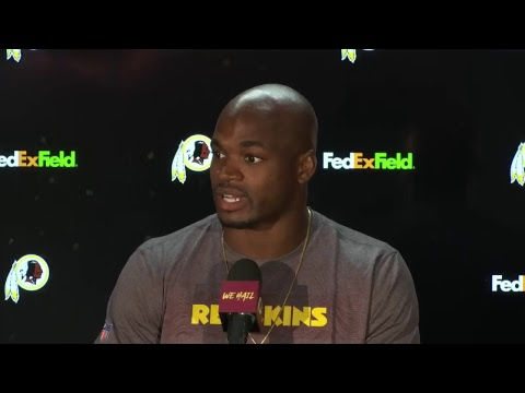 WATCH LIVE: RB Adrian Peterson speaks to the media following #Redskins debut against Broncos.