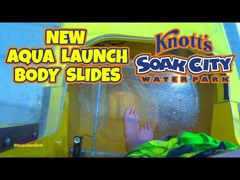 Shore Break All *NEW* 4 Aqua Launch Body Slides (HD POVS) Knotts Soak City