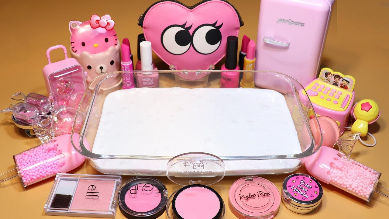 """Color Series Season3 Mixing """"PINK"""" Makeup,Parts,slime... Into White Slime! """"PINKSlime"""""""