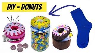 DIY- Como Fazer Donuts de meia – Niqueleira, Baleiro e Porta Treco de Donuts