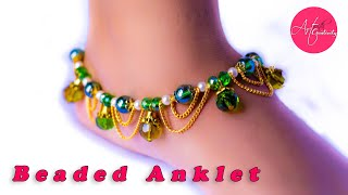 How to make Beaded Anklet |  3-step | Easy DIY | Art with Creativity