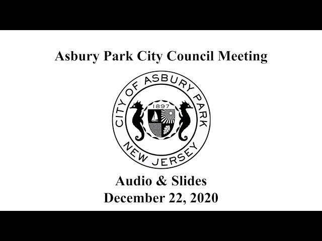 Asbury Park City Council Meeting - December 22, 2020