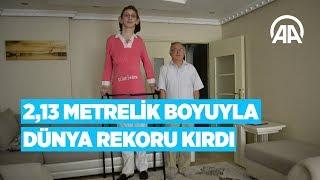 """""""Karabüklü Rümeysa"""" 2,13 metrelik boyuyla dünya rekoru kırdı"""
