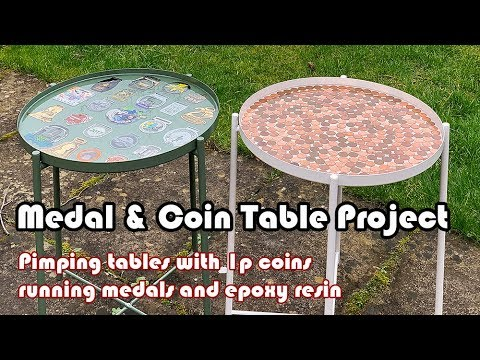 Making a penny table and running medal table with epoxy