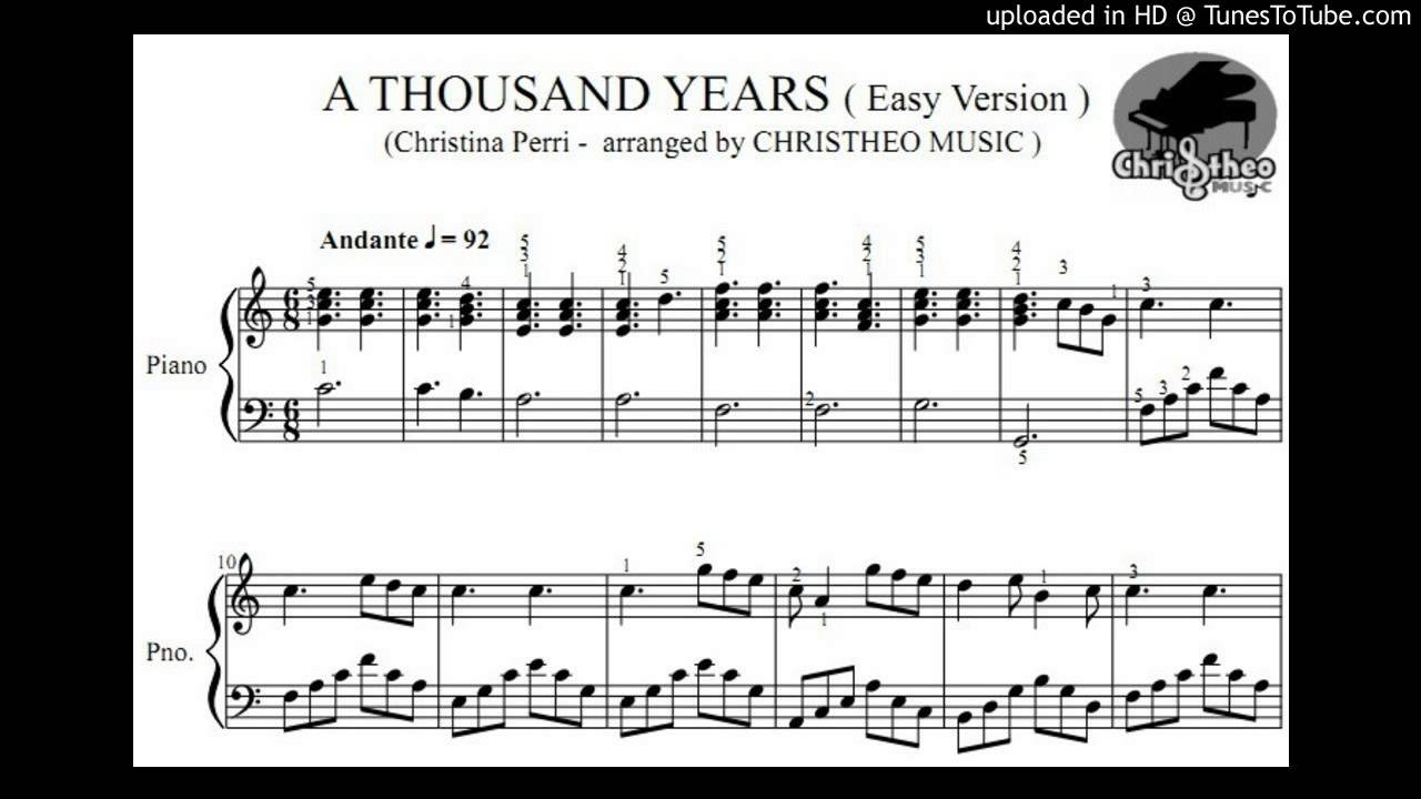 A thousand years christina perri piano solo sheet christheo a thousand years christina perri piano solo sheet christheo music hexwebz Image collections