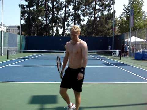 Marat Safin losing his cool while practicing with Tursunov 1