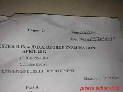 Previouse question paperCalicut university papers 4th sem entrepreneur ship