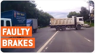 Truck Reverses Into Two Way Traffic | Faulty Brakes