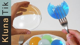 WATER BALLS (orbeez) for LUNCH! Kluna Tik   ASMR sounds no talk JUMBO polymer experiment