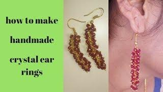 how to make crystal ear ring, handmade crystal ear rings,srikrish beauty & fashions