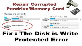 Fix Corrupted Pen drive | Memory Card Error The Disk is Write Protected
