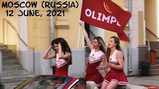 Walking Moscow (Russia): beautiful Russian women and biker girls near Red Square / 12 June, 2021