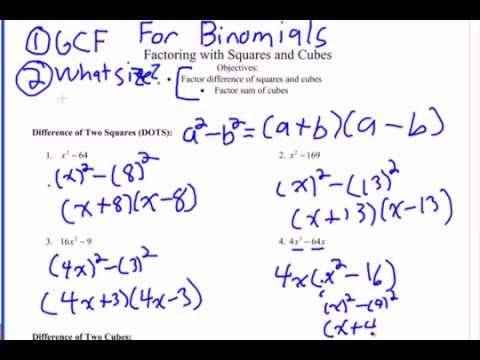 How to Factor Binomials (Difference of Squares and Cubes, Sum of ...