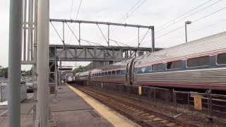 Insane! Amtrak Trains Meet! Plus almost hit by an MBTA sign?!