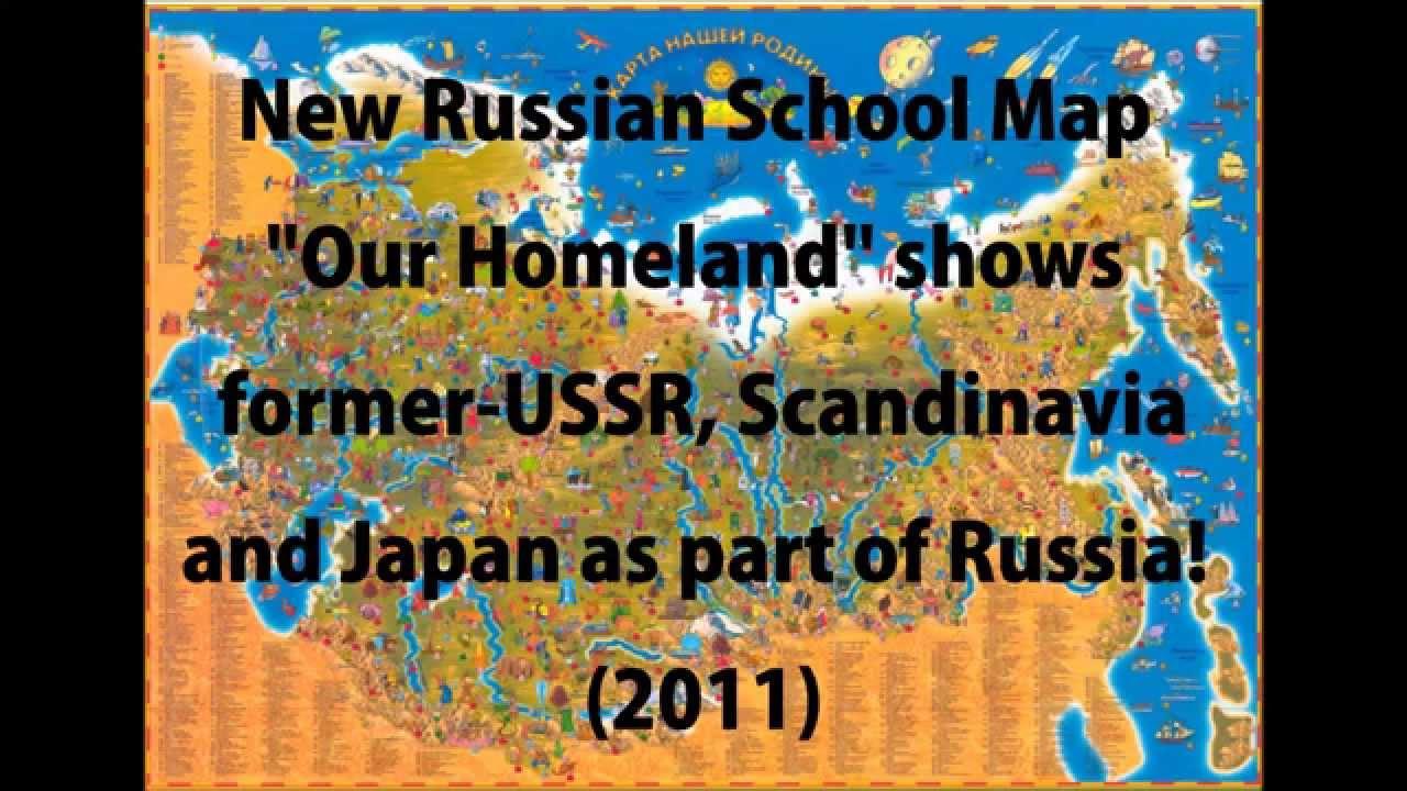 New Russian School Map Our Homeland shows exUSSR Scandinavia