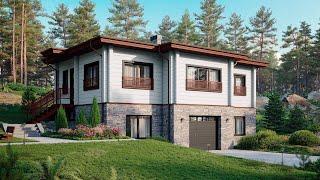 Проект дома в скандинавском стиле. Комбинированный дом с гаражом и сауной. Ремстройсервис М-387