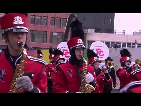 Divine Child High School marching band of Dearborn performs for national audience