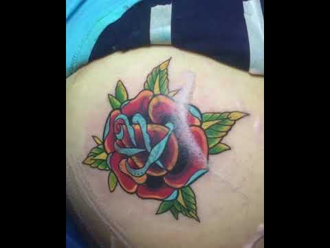 Traditional Rose Tattoo Cover Up By Babaa Jah Youtube