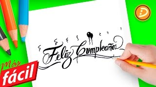 Como Dibujar la frase Feliz cumpleaños | Dibujar Hermosos mensjes