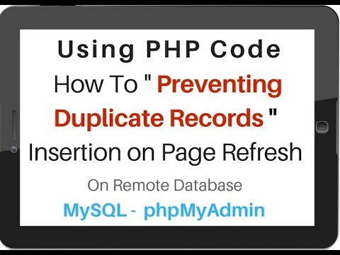 Prevent Duplicate Record Insertion on browser Refresh mysql | php