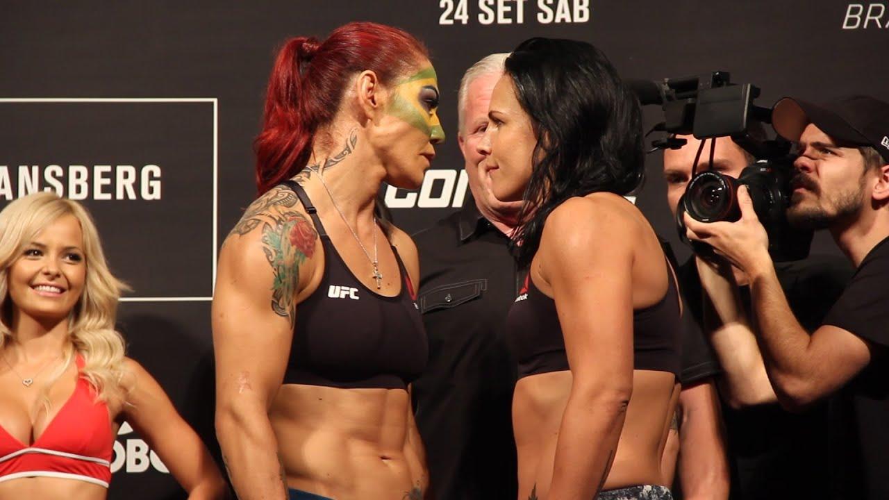 UFN 95 Weigh-Ins  Cris Cyborg vs  Lina Lansberg Staredown - YouTube