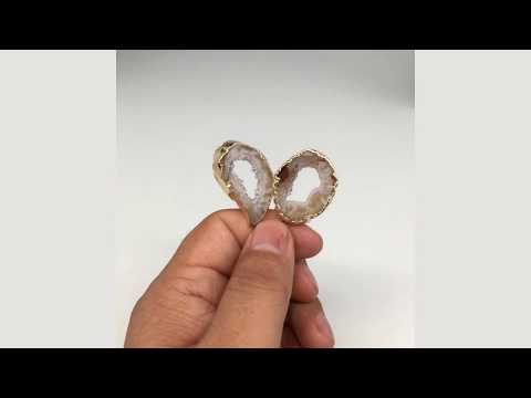 """10.2 grams, 1.9"""" Agate Druzy Slice Geode Gold Plated Earrings from Brazil, BE133"""