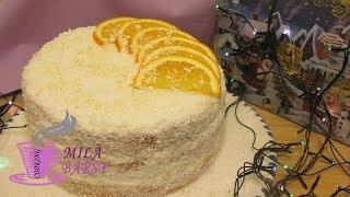 Снежный апельсиновый торт | Новогодний рецепт | Snowy orange cake