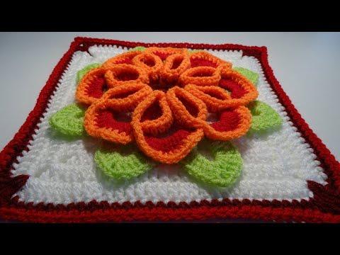 Crochet 3D Flower Square nr:2